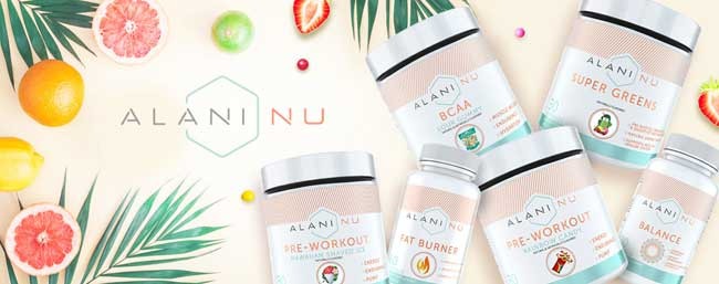Alani Nu range: pre workout, balance, super greens and BCAA