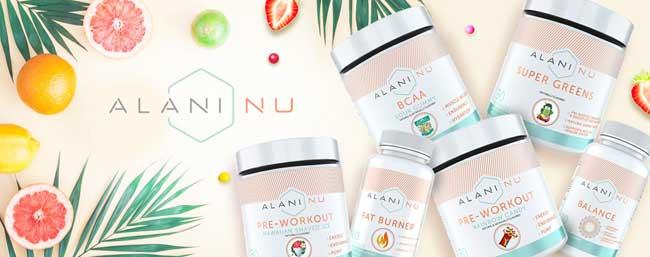 Alani Nu range: pre workout, balance, super greens and BCAA