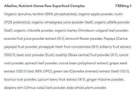 Alkaline, Nutrient-Dense Raw Superfood Complex