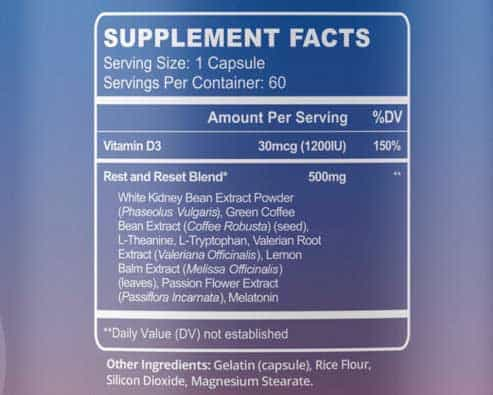 Supplement facts of Mv Fat Burner