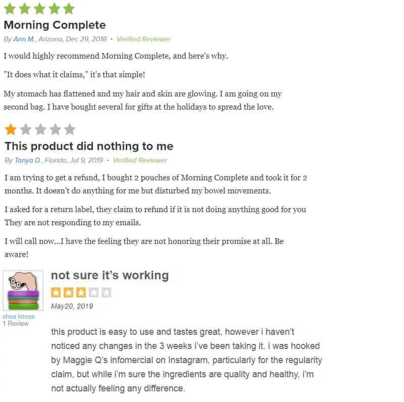 Morning Complete customer reviews
