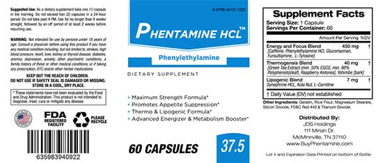 Phentamine HCL ingredient label