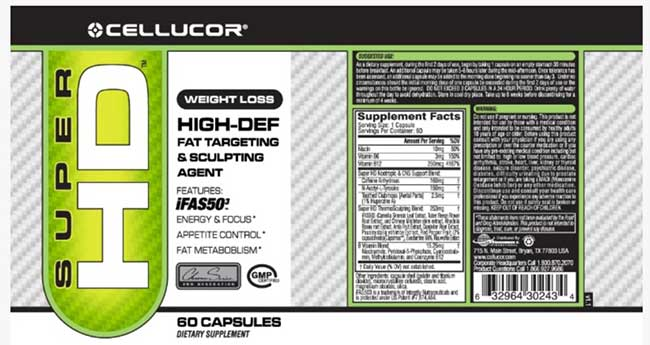 SuperHD label and supplement facts