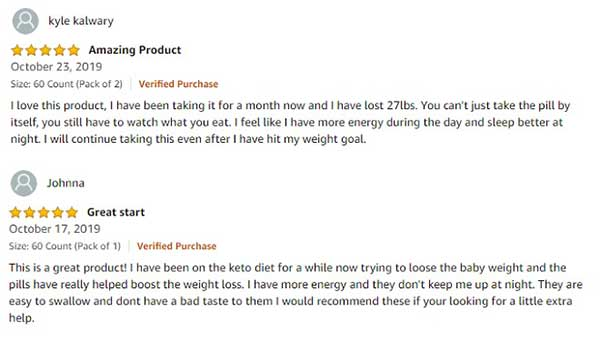 Ultra Fast Pure Keto Boost positive customer reviews