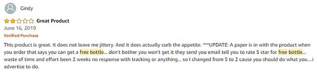 Customer downgrading her review