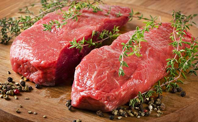 Beef steak is high in protein