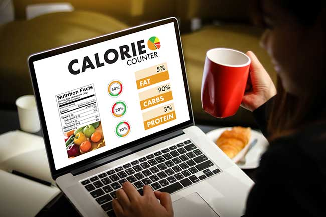 Calorie burning app on computer