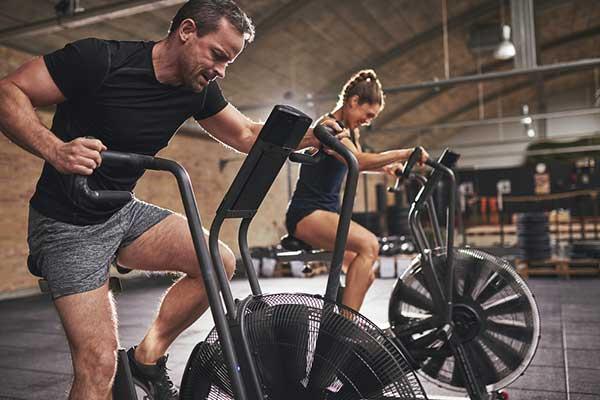 man on bike doing cardio