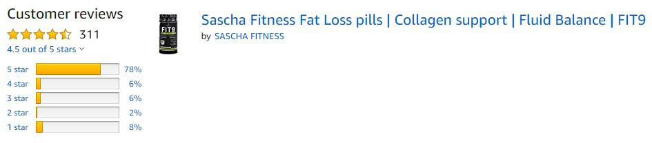 Fit 9 5 star ratings on Amazon