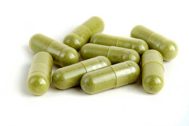 capsules with green tea