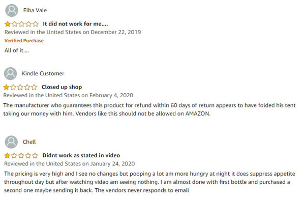 Leptitox bad customer review from Amazon