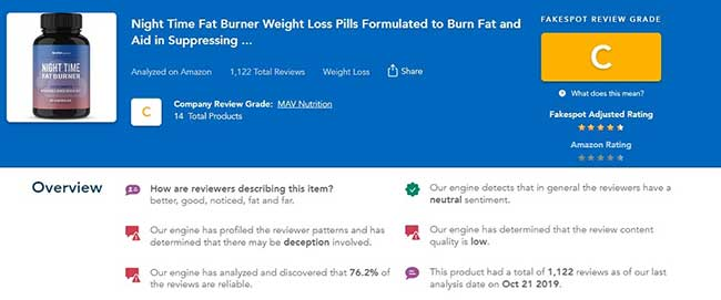 Night Time Fat Burner has a low trust rating