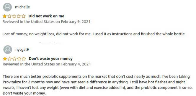 Bad reviews on Provitalize