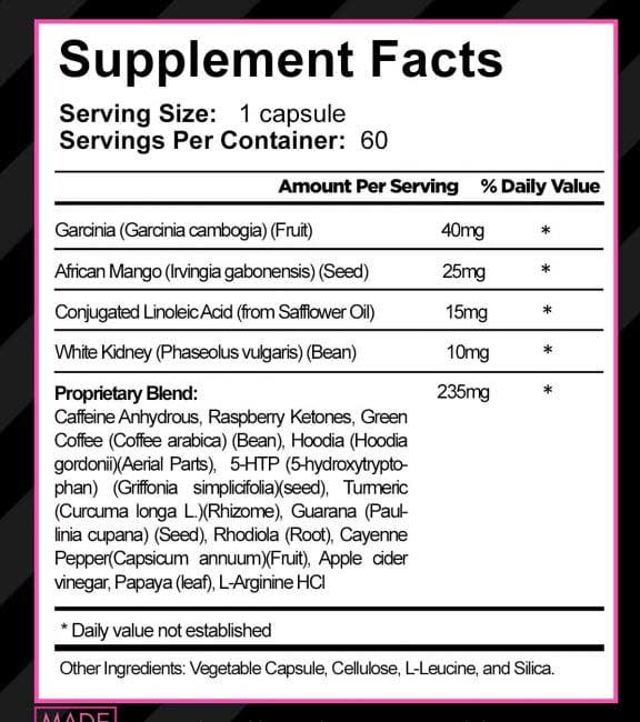 what is in Skinny Gal - supplement facts and ingredients