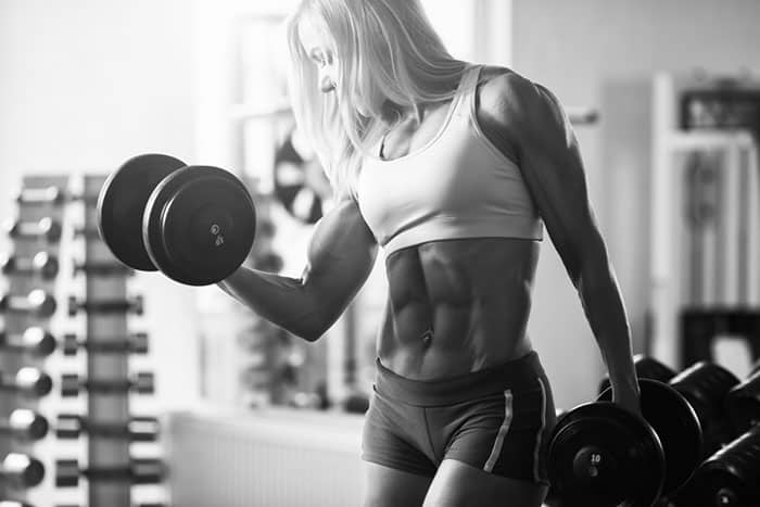 woman with a muscle pump